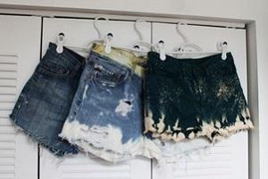 отбеливание джинсовых шорт